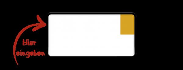Kennzeichen (Kurzzeitkennzeichen, Überführungskennzeichen) zweizeilig verkleinert 255mm x 130mm