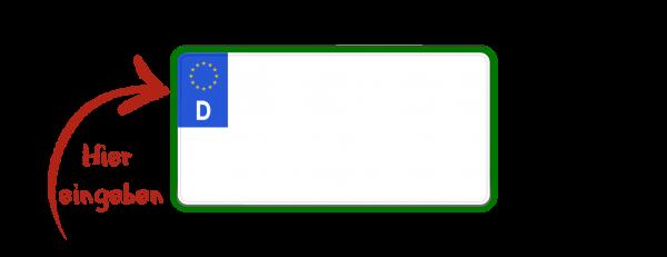 Euro Steuerbefreites Kennzeichen (zweizeilig, grün) 255mm x 130mm