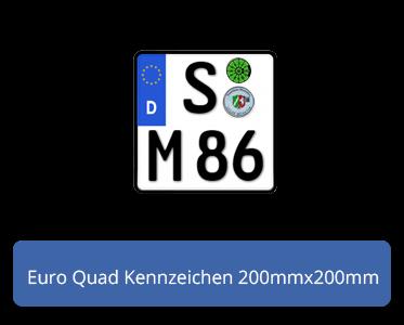 reflektierend Motorradschilder mit Wunschkennzeichen Motorrad-Kennzeichen EU 200 x 200 mm