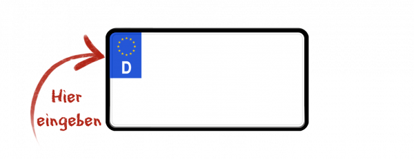 Eurokennzeichen (zweizeilig verkleinert) 255mm x 130mm