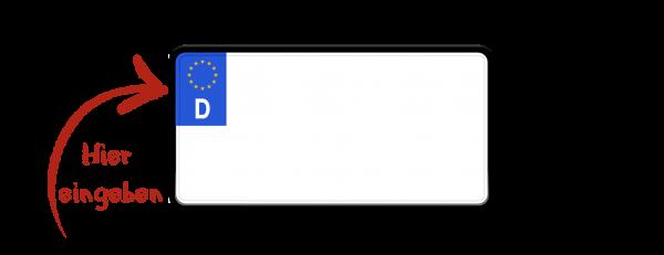 Eurokennzeichen (Saisonkennzeichen, zweizeilig verkleinert) 255mm x 130mm