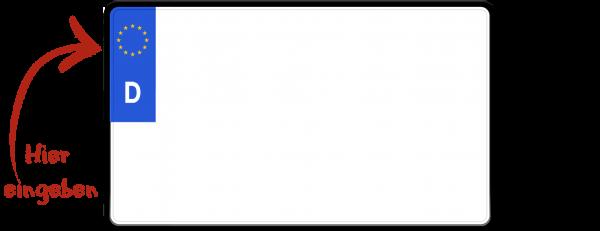 Eurokennzeichen (E-Kennzeichen für Elektrofahrzeuge, zweizeilig) 240mm x 200mm