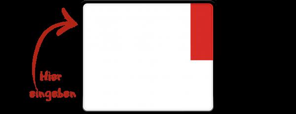 Kennzeichen (Ausfuhrkennzeichen, Exportkennzeichen) zweizeilig 240mm x 200mm